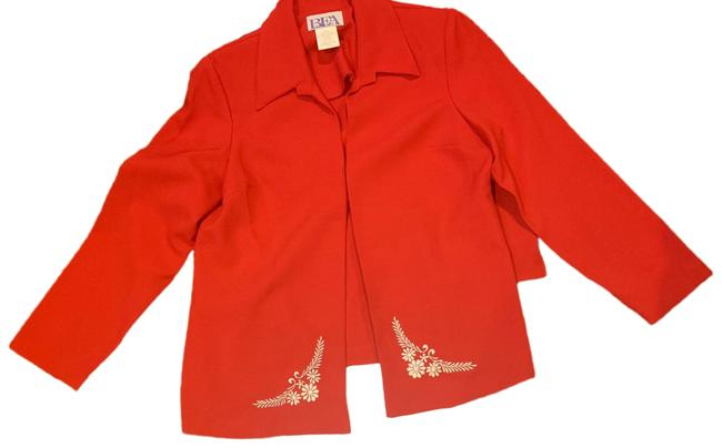 Item - Red and White 3 Piece Pant Suit Size Petite 14 (L)