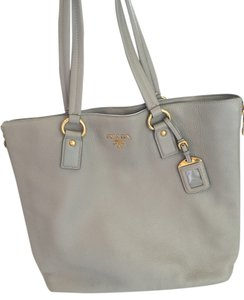 Prada Leather Tote in Light grey with gold hardware
