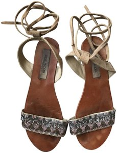 Steve Madden Tan and Multi-color beading Sandals