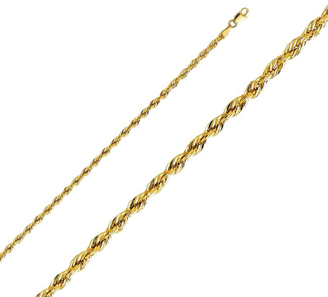 "Item - Yellow 14k 3mm Silky Rope Cut Chain - 18"" Necklace"