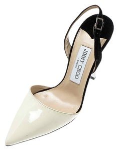 Jimmy Choo Patent Leather Monochrome Suede Ankle Strap Leather White Sandals