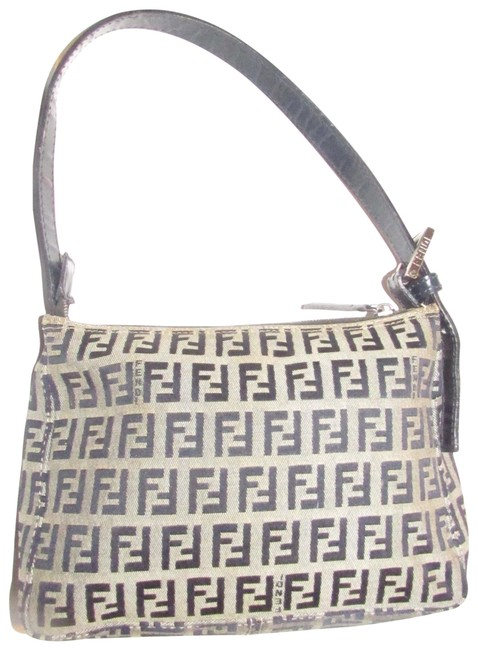 Item - Zucchino Shoulder Purse Navy Print On Tan Leather and Canvas Hobo Bag