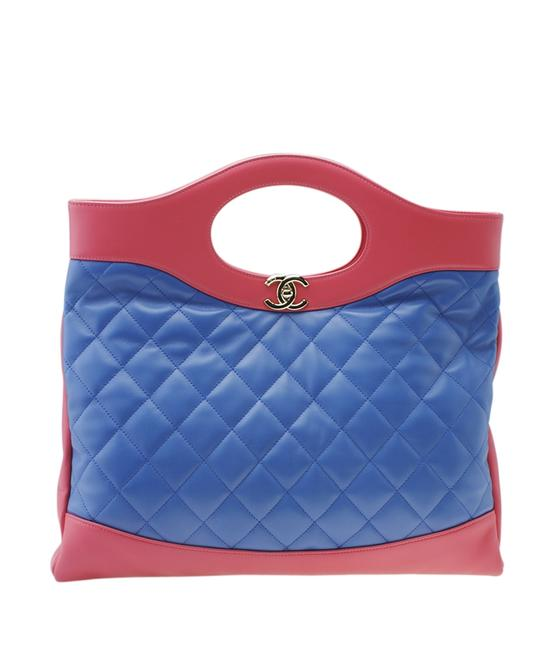 Item - A57978 Large 31 Red & Blue Quilted Bag(178463) Bluexred Lambskin Leather Tote