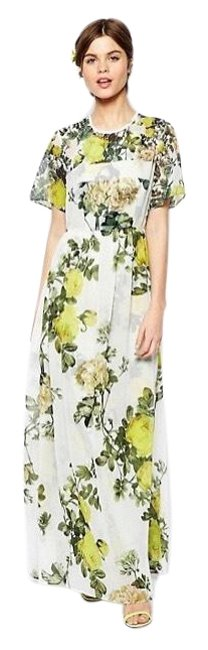 Item - White Yellow Green Mint Floral Long Cocktail Dress Size 6 (S)