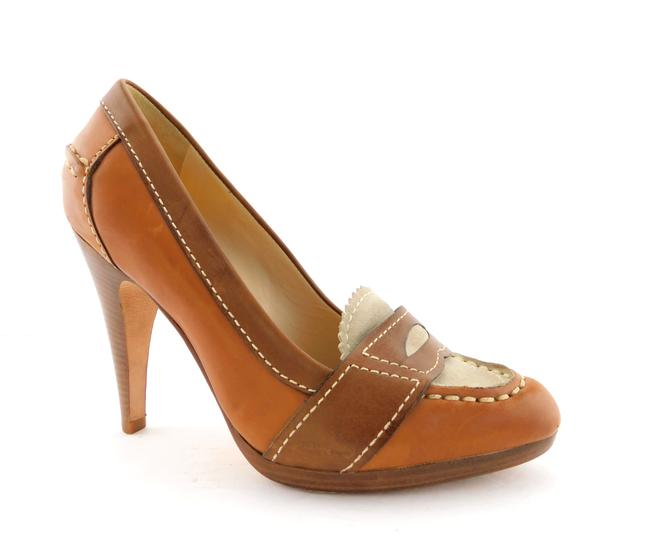Item - Natural Tan Brown Leather Nike Air Loafer Style Heels Pumps Size US 7 Regular (M, B)