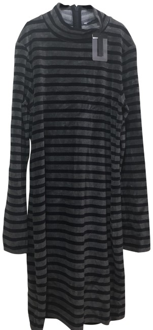 Item - Navy Blue and Gray Mock-neck Stripe Velour Long-sleeve Open-back Mid-length Night Out Dress Size 0 (XS)