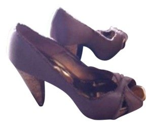 Barbara Bui Cork Heel Peep Toe Dark Taupe / Tan Satin Platforms