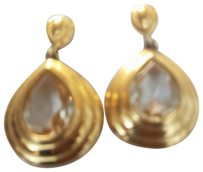 Item - Gold with Large Crystal Vintage Drop Earrings