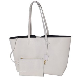 Saint Laurent Shopping Tote in White