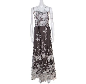 Black Maxi Dress by Marchesa Notte Floral Embroidered Strapless
