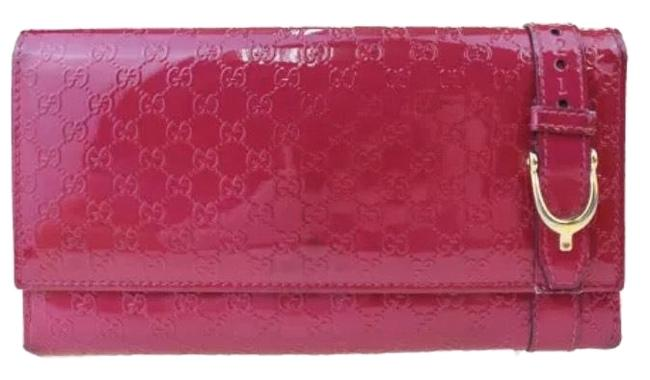 Item - Micro Gg Pattern Long Bill Wallet/Clutch Pink Patent Leather Clutch