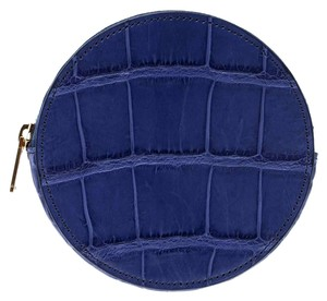 Céline Blue Croc Embossed Round Zip Coin Purse