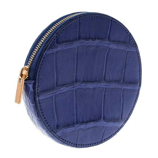 Céline Blue Croc Embossed Round Zip Coin Purse Image 2