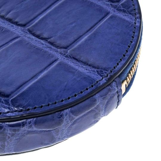 Céline Blue Croc Embossed Round Zip Coin Purse Image 4