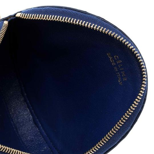 Céline Blue Croc Embossed Round Zip Coin Purse Image 6