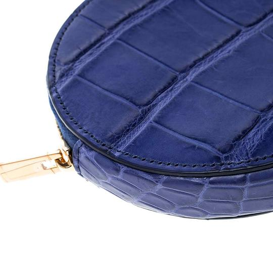 Céline Blue Croc Embossed Round Zip Coin Purse Image 7
