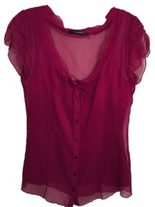 Elie Tahari Sheer Sheer Hot Pink Top Fuchsia