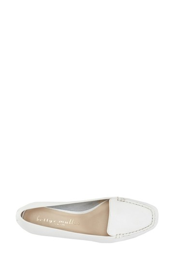 Bettye Muller Loafer Leather White Flats Image 2