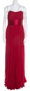 Red Maxi Dress by Marchesa Notte Silk Chiffon Pleated Strapless