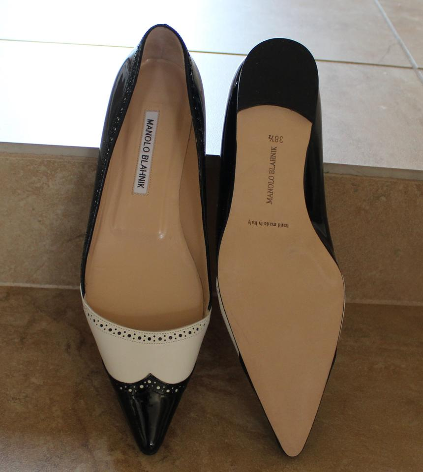 594b68b75 ... Manolo Blahnik Patent Leather Pointed Toe Black White Flats.