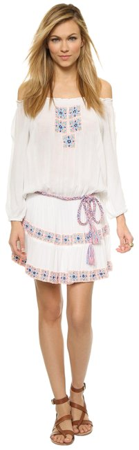 Item - White Off The Shoulder Embroidered Beach Blouse Size 4 (S)