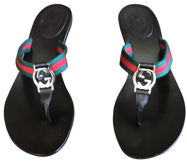 Item - Dark Brown with Green and Red Trim Classic Stripe Sandals Size US 8 Regular (M, B)