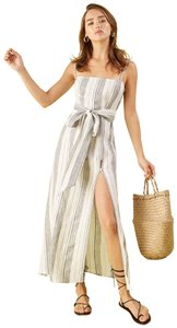 White Maxi Dress by Reformation Midi Striped Belted