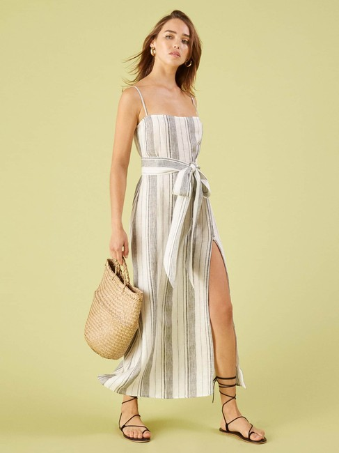 White Maxi Dress by Reformation Midi Striped Belted Image 1