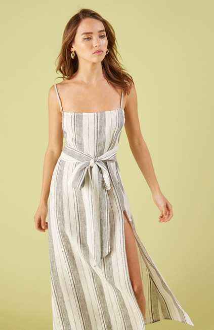 White Maxi Dress by Reformation Midi Striped Belted Image 2
