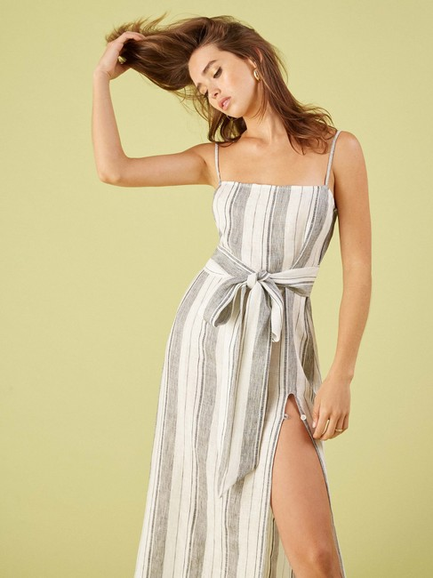 White Maxi Dress by Reformation Midi Striped Belted Image 3
