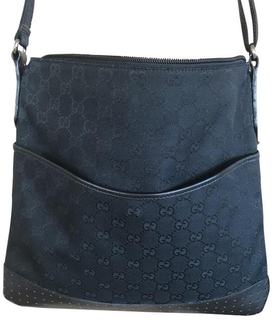 Gucci Monogram Canvas with Leather Trim Cross Body Bag Gucci Monogram Canvas with Leather Trim Cross Body Bag Image 1
