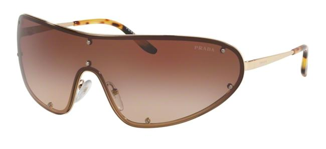 Prada Gold New 90's Style Shield with Case Spr 73v 6s1 Free 3 Day Shipping Sunglasses Prada Gold New 90's Style Shield with Case Spr 73v 6s1 Free 3 Day Shipping Sunglasses Image 1