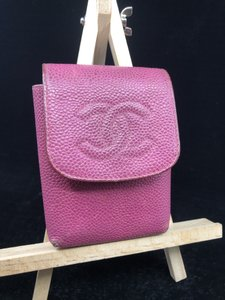 Chanel CC051 CC Logos Cigarette Case Caviar Skin Leather Pink