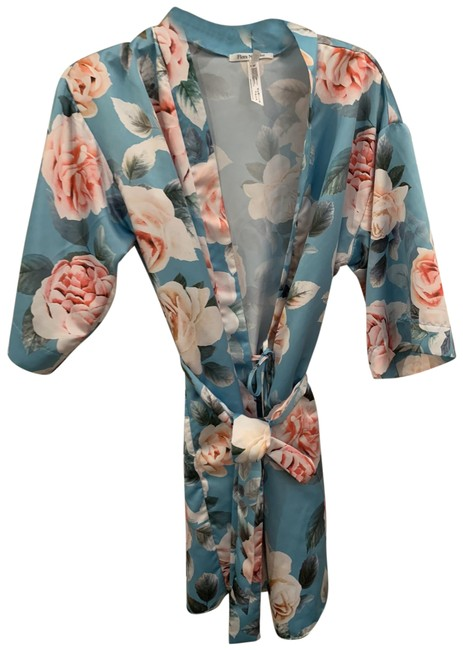 Item - Blue and Pink Satin Robe Cover-up/Sarong Size 6 (S)