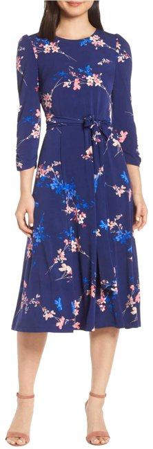 Eliza J Blue Floral Midi Mid-length Short Casual Dress Size 2 (XS) Eliza J Blue Floral Midi Mid-length Short Casual Dress Size 2 (XS) Image 1