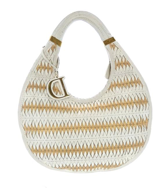 Item - Teardrop Whte and Pale Gold Woven Leather Shoulder Bag