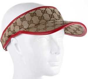 Gucci Tan Gucci GG Guccissima canvas visor with red leather piping