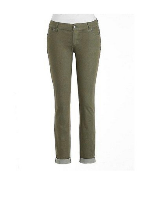 Item - Olive Green Coated Two By Washed Cuffed Stretch Cotton Skinny Jeans Size 4 (S, 27)