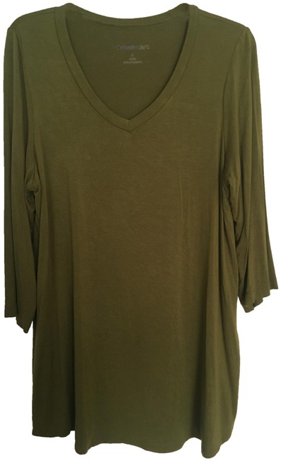 Item - Olive Green 3/4 Sleeve Tunic Size 14 (L)