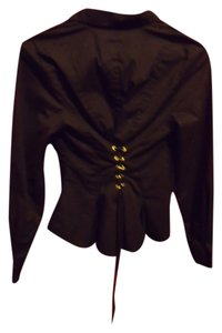 Moda International Lace Up Corset Peplum Gothic Button Down Shirt Black & Gold