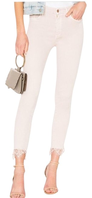 Item - Cream Pink Medium Wash Blush Looker Dagger Lace Ankle Skinny Jeans Size 34 (12, L)