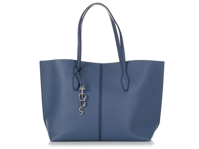 Tod's Large Joy Hammered Blue Leather Tote Tod's Large Joy Hammered Blue Leather Tote Image 1