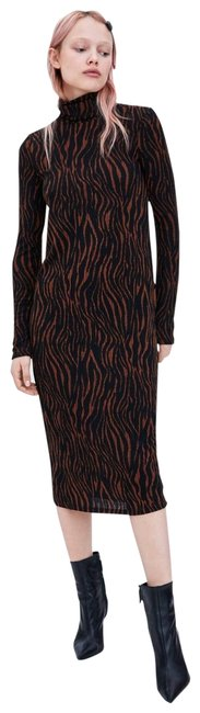 Preload https://img-static.tradesy.com/item/26194223/zara-brownblack-textured-weave-high-neck-long-sleeve-new-bodycon-stretch-mid-length-workoffice-dress-0-2-650-650.jpg