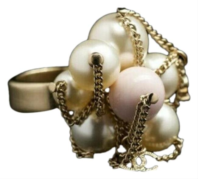 Item - White/Pink Multiple New Gold 2009/10 Glass Pearls Cc Metal Chain Ring