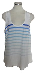 Joie Sheer 100% Silk Top Ivory Blue