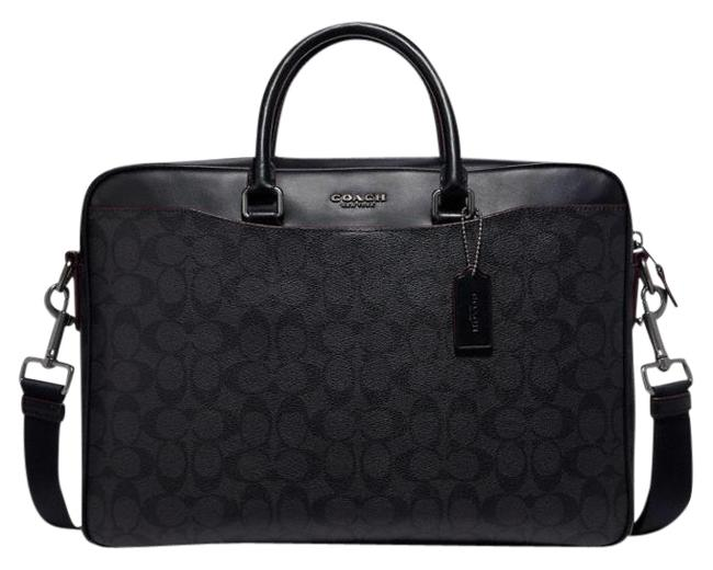 Coach Beckett Slim Brief In Signature Black/Oxblood Coated Canvas Laptop Bag Coach Beckett Slim Brief In Signature Black/Oxblood Coated Canvas Laptop Bag Image 1