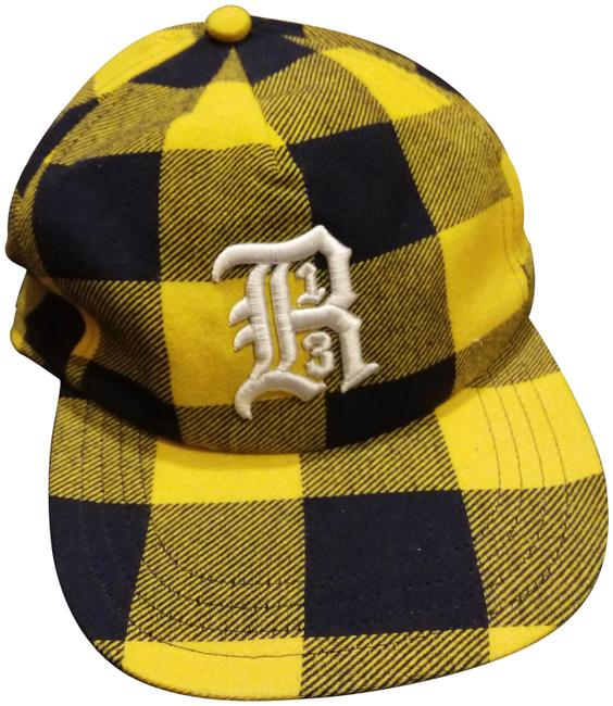 R13 Black Yellow Checkered Cap with Brim Hat R13 Black Yellow Checkered Cap with Brim Hat Image 1