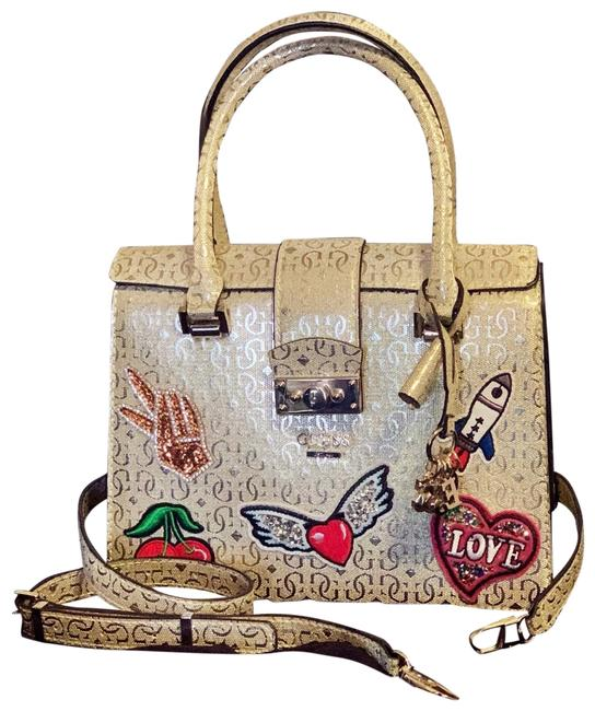 Guess Gold White Tan Red Green Blue Purple Satchel Guess Gold White Tan Red Green Blue Purple Satchel Image 1