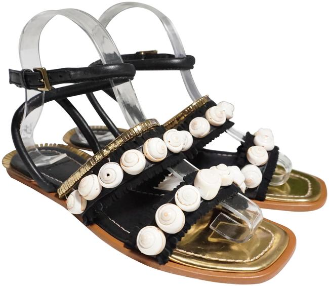 Tory Burch Black/Gold Sinclair Seashell Black/Gold 6 Sandals Size US 5.5 Regular (M, B) Tory Burch Black/Gold Sinclair Seashell Black/Gold 6 Sandals Size US 5.5 Regular (M, B) Image 1