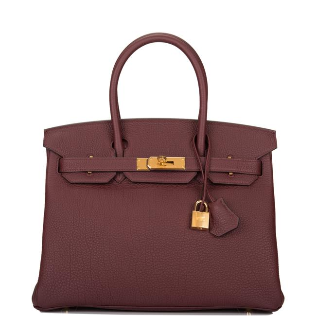 Item - Birkin Bordeaux Togo 30cm Gold Hardware Red Leather Satchel